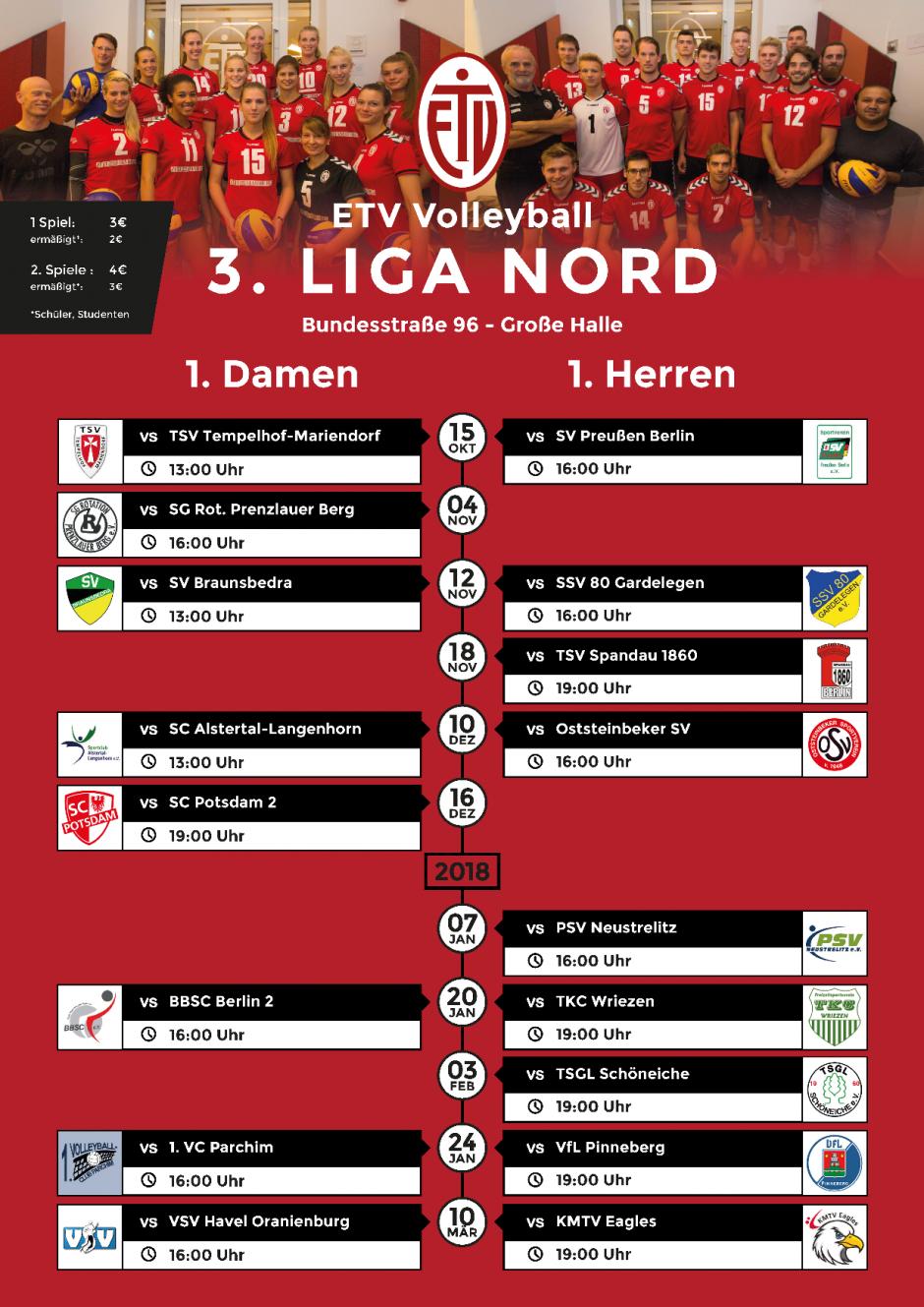 Alle Heimspiele unserer Drittligisten in der Bundesstr. 96